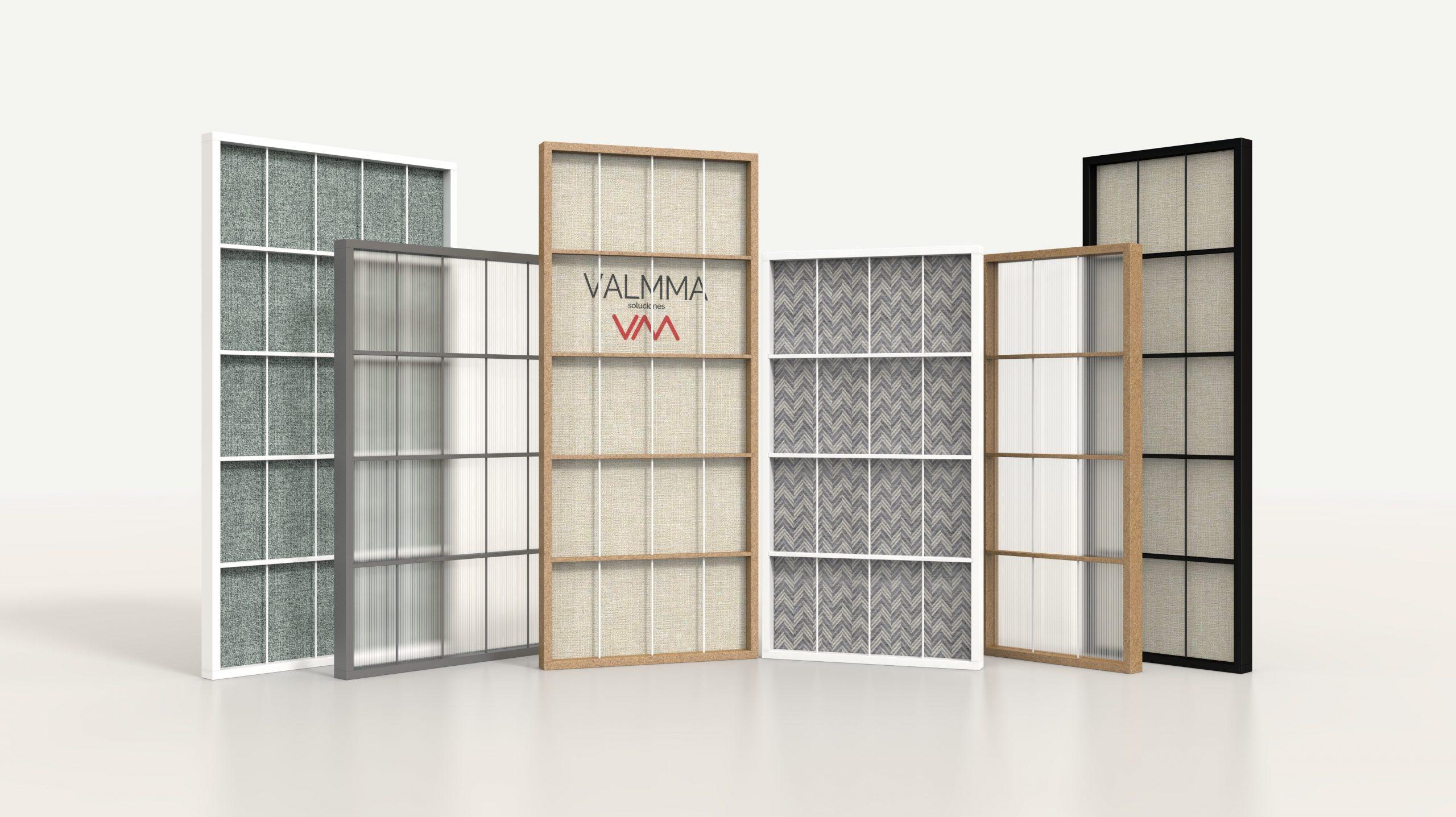 Render de una selección de Mamparas realizadas para Valmma con diferentes materiales y colores.