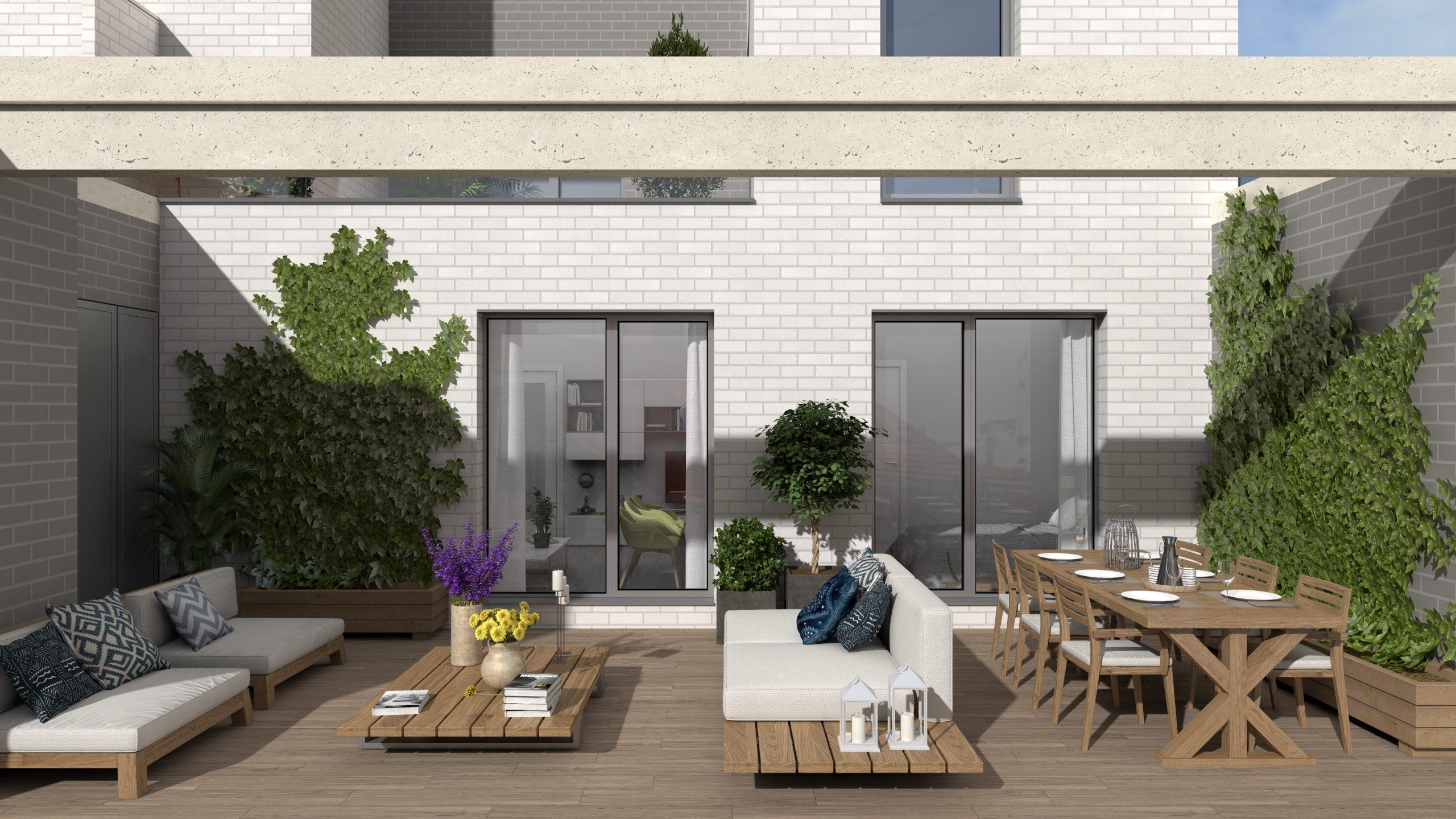 Render de un proyecto de viviendas ubicado en Tetuán Madrid donde se muestra el resultado de la terraza.