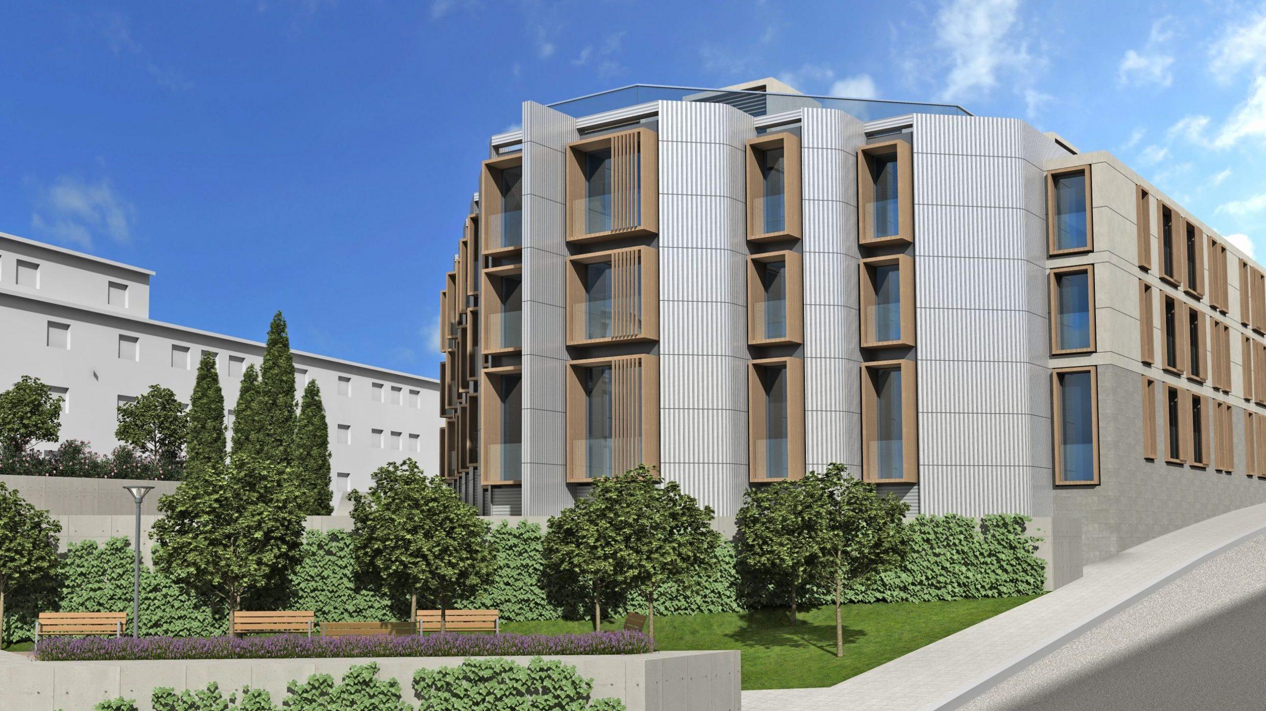 Render del concurso de arquitectura para Aliseda en Pozuelo de Alarcón. Acabado final del edificio y los exteriores.